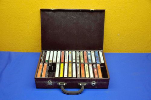 Old cassette suitcase for 32 cassettes 1970s
