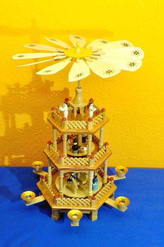 3-storey wooden christmas pyramid handcraft 1980s