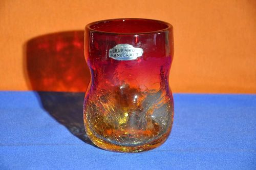 Dimple glass Blenko Handcraft red / yellow crackeled 70s