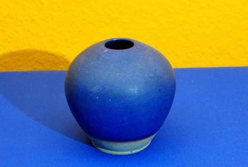 Blue vase studio ceramic signed ER around 1970s