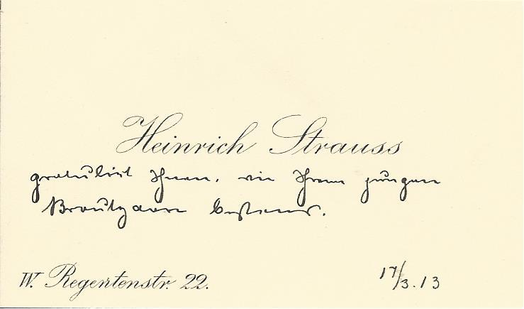 Heinrich Strauss Business card