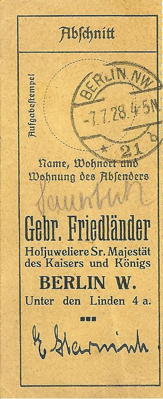 Old repair certificate of the Brothers Friedlaender